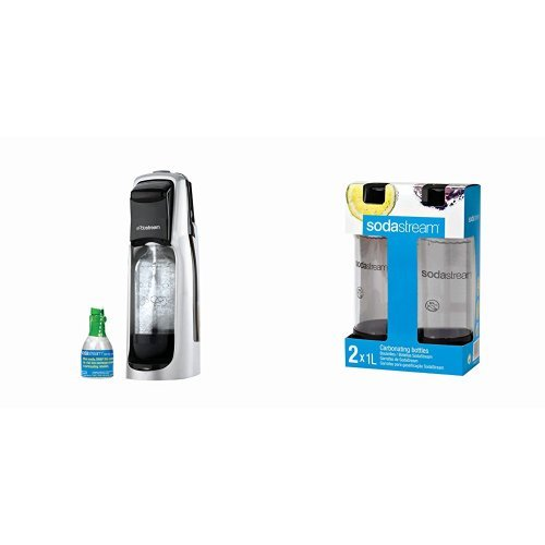 SodaStream Fountain Jet Home Soda Maker Starter Kit, Black and Silver and Sodastream 1l Carbonating Bottles- Black (Twin Pack) Bundle (Soda Stream Mini Starter Kit)