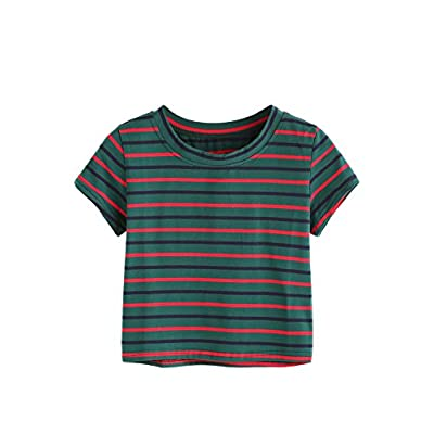 SweatyRocks Women's Tie Dye Letter Print Crop Top T Shirt at Women's Clothing store