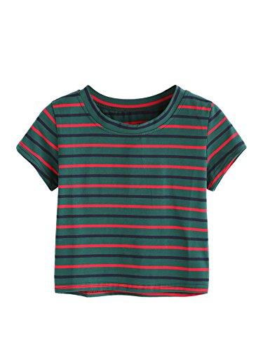 SweatyRocks Womens Tie Dye Letter Print Crop Top T Shirt,Striped  1,Large =M