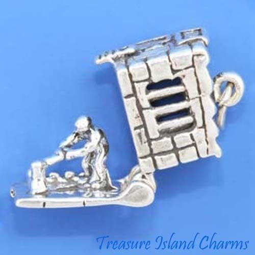 Jail House with Convict Movable 3D 925 Sterling Silver Charm Prison Opens Crafting Key Chain Bracelet Necklace Jewelry Accessories Pendants