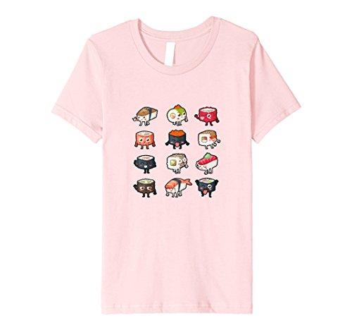 Kids Sushi T-Shirt: Cute & Moody Kawaii Sushi Rolls 8 Pink