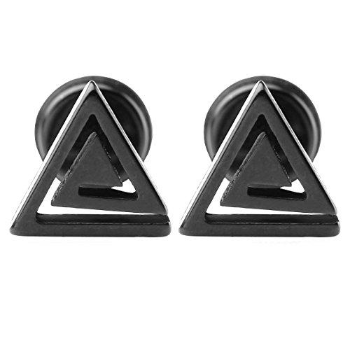 PiercingJ - 2Paires Mixte Boucle Clou d'oreille Tragus Cartilage Helix Triangle Creux Labyrinthe Acier Inoxydable Punk Rock Unisexe