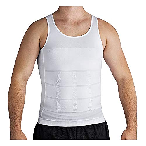 Roc Bodywear Men's Slimming Body Shaper Compression Shirt Slim Fit Undershirt Shapewear Mens Shirts Undershirts USA Company! (Lg, White)