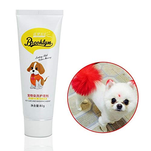 Dog Hair Dye, New Pets Hair Dye - Safe Bright/Hypoallergenic/Permanent Non-Toxic/Fun Shade, 80g Pet Dog Cat Hair Coloring Dyestuffs Dyeing Pigment Agent Supplies for Creative Grooming (Red)