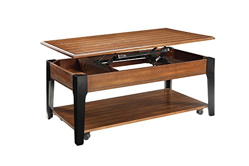 Major-Q 9080260 Contemporary Lift Top Brown Oak Black Finish Coffee Table ()