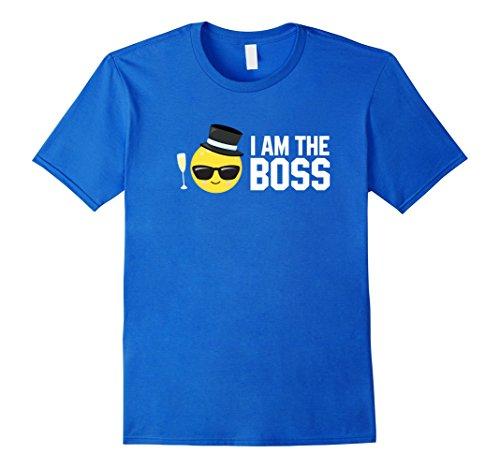 Mens I Am The Boss Emoji Sunglasses T-Shirt Boss Emoticon Shirt Medium Royal - I Sunglasses Am