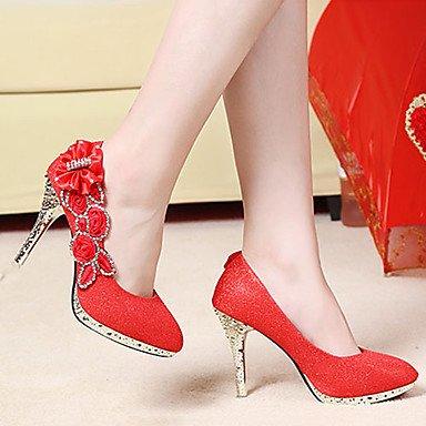 tacchi Pumps matrimonio donna Stöckel cirior High da rotondi Plateau Heels donna in tacco Heels Rot scarpe vestito da High Scarpe plastica ZxSZAw