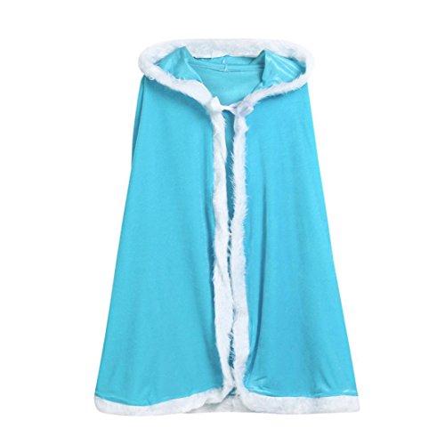 KingWo Cloak hooded cloak drop ship Kids Childrens' Christmas Costume Santa Hooded Cosplay Cape Robe for Boy Girl (Blue) for $<!--$10.58-->
