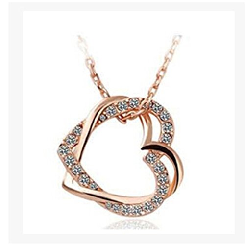 Iumer Charming Plated Twisted Double Heart Pendant Necklace Fashion Crystal Gift Rose Gold White (Charming Heart)