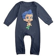 Cotton Unisex Long Sleeve Onesies Toddler Bodysuit Navy Bubble Guppies Gil Onesies