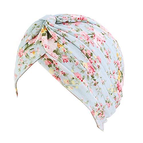 New Women's Cotton Turban Flower Prints Beanie Head Wrap Chemo Cap Hair Loss Hat Sleep Cap (Green - Cap Flowers Womens