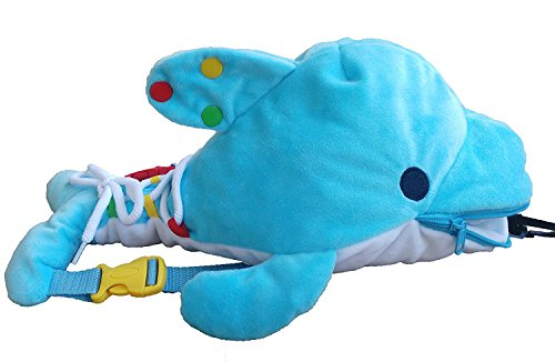 zhenyu Montessori Learn to Dress Toys Plush Backpack Dolphins Toys for Kids- -Zip, Snap, Button, Buckle,and Lace Kids Early Learning Basic Life Skills Toys