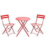 Grand patio 3 Pieces Furniture Set,Outdoor Sturdy Folding Bistro-Style Table and Chairs Set, Red
