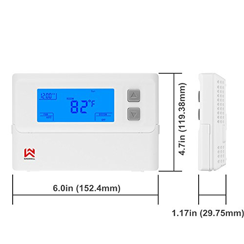 Non-programmable Single Stage Thermostat For Room,24 Volt Or Millivolt System,1H/1C,Heat Pump Thermostat,Saswell T21STK-0 by Saswell (Image #2)