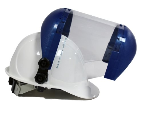 Sellstrom Dual Crown Safety Face Shield with Universal Hard Hat Slot Adapter, Clear Tint, Uncoated, Blue, S38210