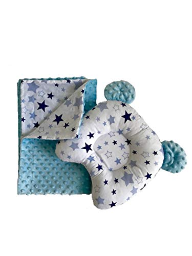 Super-Soft Minky Plush Cotton Baby Blanket and Infant Sleeping Head Shaping Cotton Pillow Toy, 2-Piece Set (Aqua Blue/White)