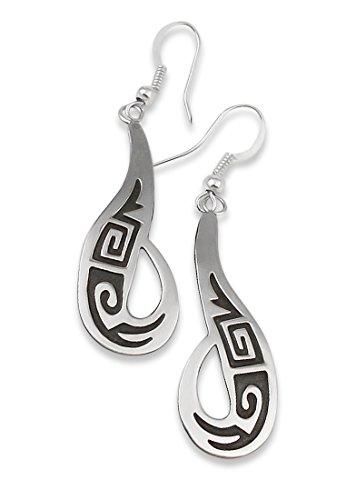Mesa Verde Traders Inc. Navajo Silver Overlay Dangle Earrings