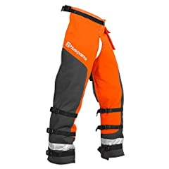 Husqvarna chain saw protective chaps contain PVC coated denier polyester with Tek warp protective layers designed to reduce the risk or severity of an injury, and give the operator extra reaction time when contact is made by a moving chain. T...