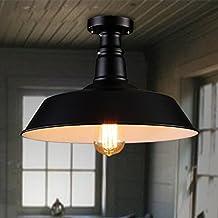 Lovedima Black Contemporary ceiling flush mount Single Edison Bulb Metal Semi Flush Mount Ceiling Light (Black)