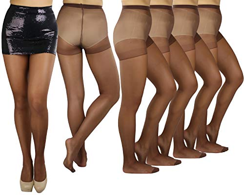(ToBeInStyle Womens Pack of 6 Plain Full Length Pantyhose - Coffee - One Size)