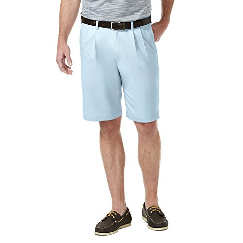 Haggar HS00439 Men's Cool 18 Pro Short, Light Blue - 36