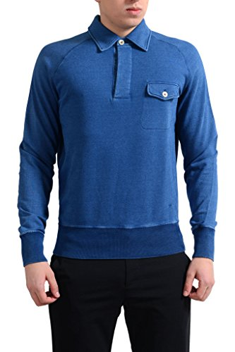 Tom Ford Men's Blue Long Sleeve Polo Casual Shirt US M IT - Tom Ford Polo