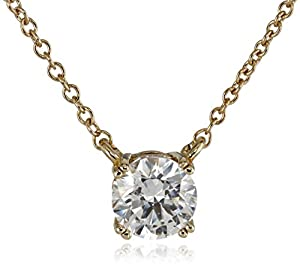 """Plated Sterling Silver and Swarovski Zirconia (1cttw) Solitaire Pendant Necklace, 18"""" by Amazon Curated Collection"""
