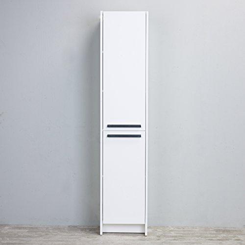 Eviva EVCB1600-16WH Lugano 16 inch White Modern Bathroom Linen Side Cabinet Storage Combination
