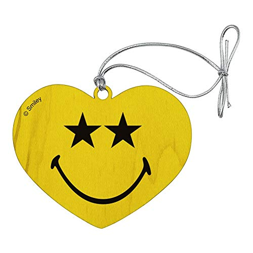 GRAPHICS & MORE Smiley Smile Happy Star Starry Eyes Yellow Face Heart Love Wood Christmas Tree Holiday Ornament