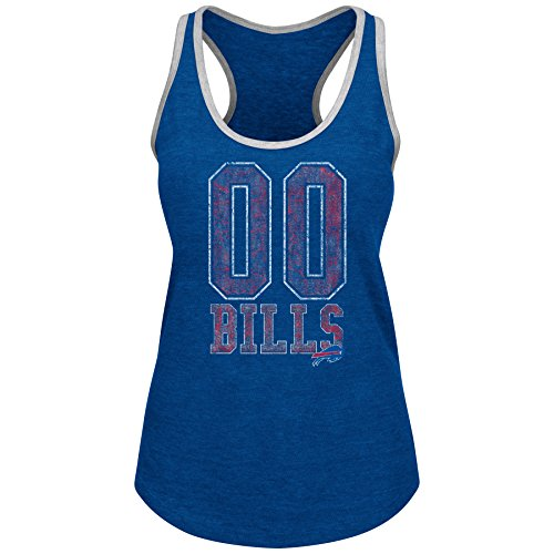 Buffalo Bills Tank - Profile Big & Tall NFL Buffalo Bills Adult Women NFL Plus Bills Team Heather Tank,1X,Royal HTHR/Grey