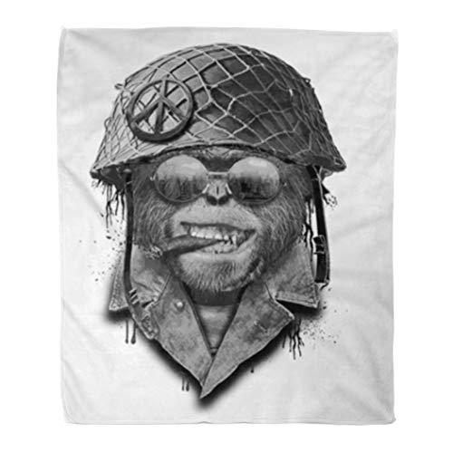 Golee Throw Blanket Gorilla Portrait Monkey Military Helmet Animal Vintage Army Aviation Aviator 60x80 Inches Warm Fuzzy Soft Blanket for Bed Sofa