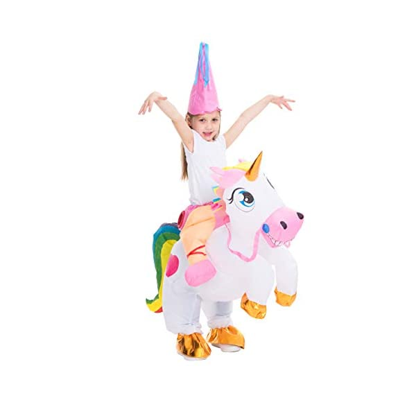 Spooktacular Creations Inflatable Costume Unicorn Riding a Unicorn Air Blow-up Deluxe Halloween Costume 8