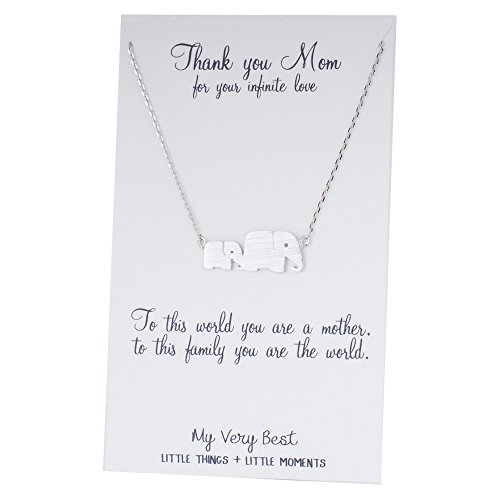 My Very Best Mom and Baby Elephants Together Necklace (silver plated brass) - Linked Heart Silver Thank You Cards