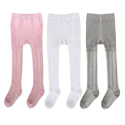 Gellwhu 3 Pairs Baby Girls Tights Toddler Boys Tights Leggings Pantyhose Stockings for Infant (0-6 Months)]()