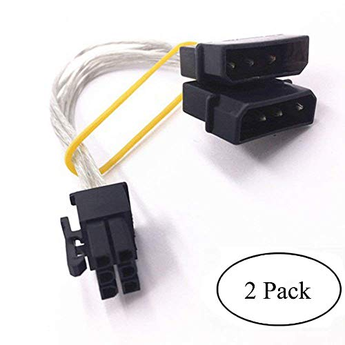 Ebanku 2 IDE Dual 4 Pin Molex IDE Male to 6 Pin Female PCI-E Y Molex IDE Power Cable Adapter Connector(2 pack) (6 Pin To Dual 4 Pin)