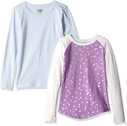 LOOK by Crewcuts Girls' 2-Pack Graphic/Solid Long Sleeve T-Shirt, Purple Star/Blue, XXX-Large (16)