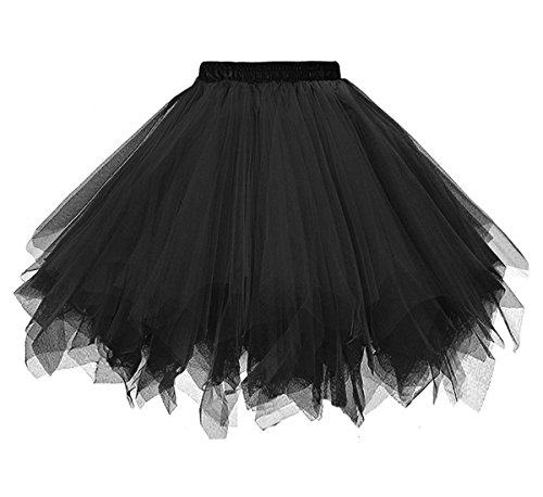 Dressever Vintage 1950s Short Tulle Petticoat Ballet Bubble Tutu Black Small/Medium]()