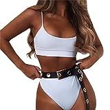 MOSERIAN Women Summer Swimwear Bikini Set Push-up Padded Bra Bathing Suit Swimsuit White