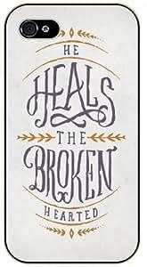 LJF phone case He heals the broken hearted - Vintage art - Bible verse iPhone 5 / 5s black plastic case / Christian Verses