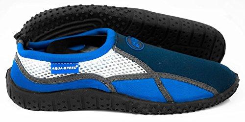 AQUA-SPEED® AQUA-SCHUHE Model 17 A/B (35-45 Unisex Anti-Rutsch-Struktur Schwimmbad Swimmingpool Kordelzüge + UP®-Schlüsselband) Farbe 01 / Blau