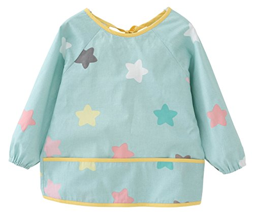 Price comparison product image F&C Toddler Baby Waterproof Sleeved Bib With Catch-All Pocket (2T(80-90CM),  Blue star)