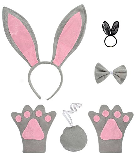 Bunny Costume For Adults (JustinCostume Bunny Cosplay Set Ears Tail Bowtie Paws Hair Tie, Gray)