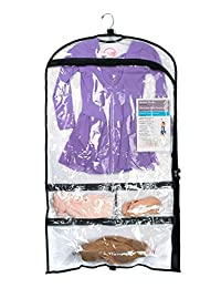 Bunwear 5 Pocket Costume Garment Bag with Fillable Dance/Gymnastics/Cheer Card