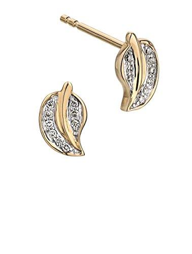 Boudici E2033D1/AZ9Y 9 carats-Diamant-Boucles d'oreilles en or jaune