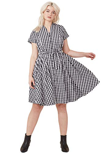 Ellos Women's Plus Size Sandy Shirtwaist Dress - Black White Gingham, ()
