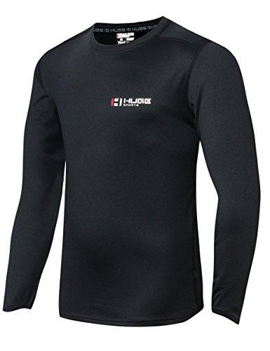 HUGE SPORTS Men's Fleece ColdGear Thermal Daily Wear Workout Fitted Shirt Long Sleeves (Black, 2XL) (Thermal Sportswear)