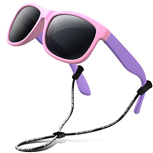RIVBOS Rubber Kids Polarized Sunglasses With Strap Glasses Shades for Boys Girls Baby and Children Age 3-10 RBK023 (Pink)