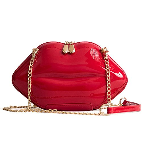 Red Vintage Clutch - Women Leather Lips-shaped Evening Clutch Purses Crossbody Bags Vintage Banquet Handbag (Red)