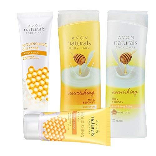 Avon Naturals Milk & Honey Full Beauty Regimen (bodylotion + shower gel + face cream + cleanser)