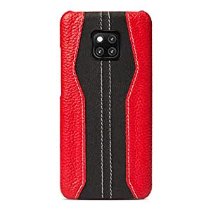 Huawei Mate 20 pro leather mobile phone case shell stylish creative slim anti-drop shockproof all-inclusive protection sleeve back cover,red&black